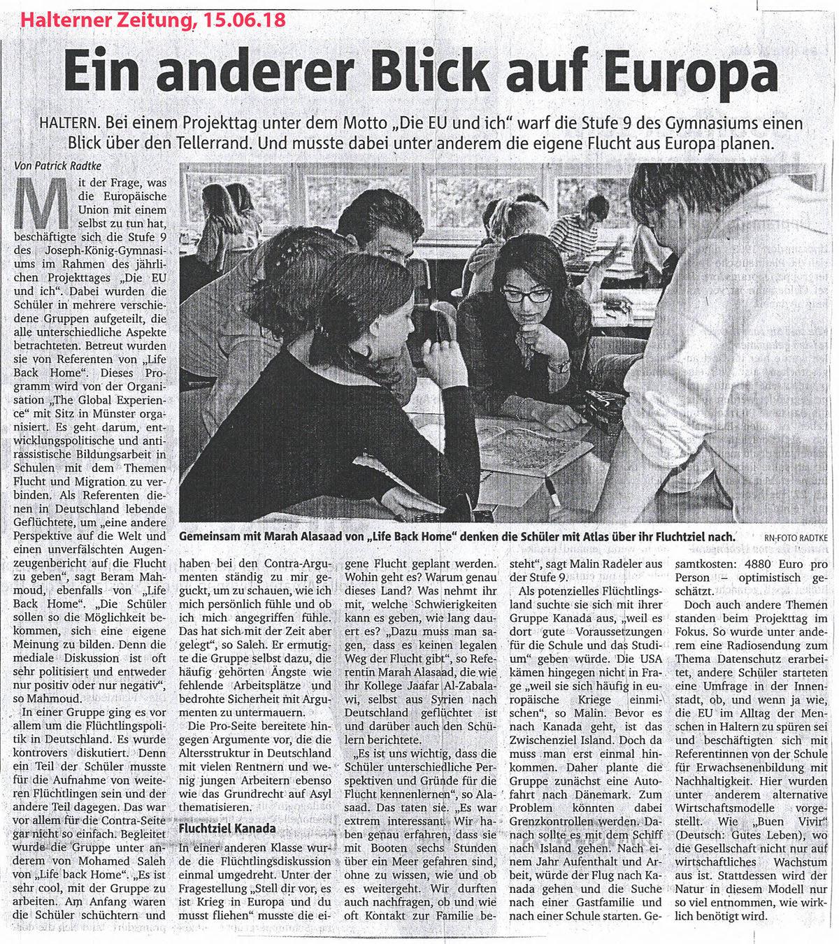Haltener Zeitung, 15.06.2018