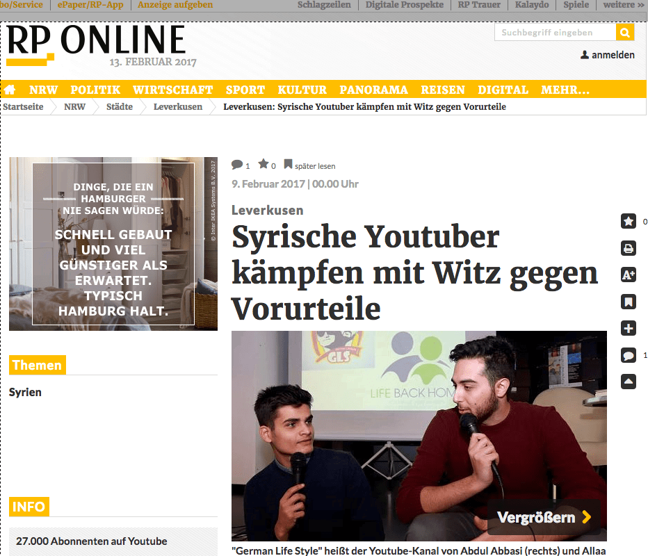 RP Online - Leverkusen, Syrische YouTuber kämpfen mit Witz gegen Vorurteile